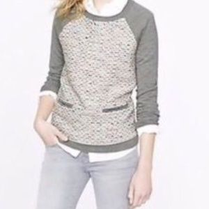 J Crew Tweed-Front Baseball Sweater L 28% Merino